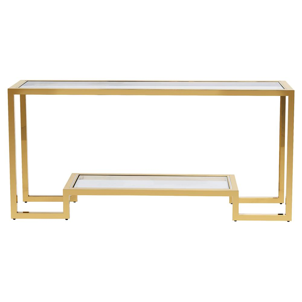 6b49a96a958f Interlude Vienna Hollywood Angular Polished Brass Glass Console Table