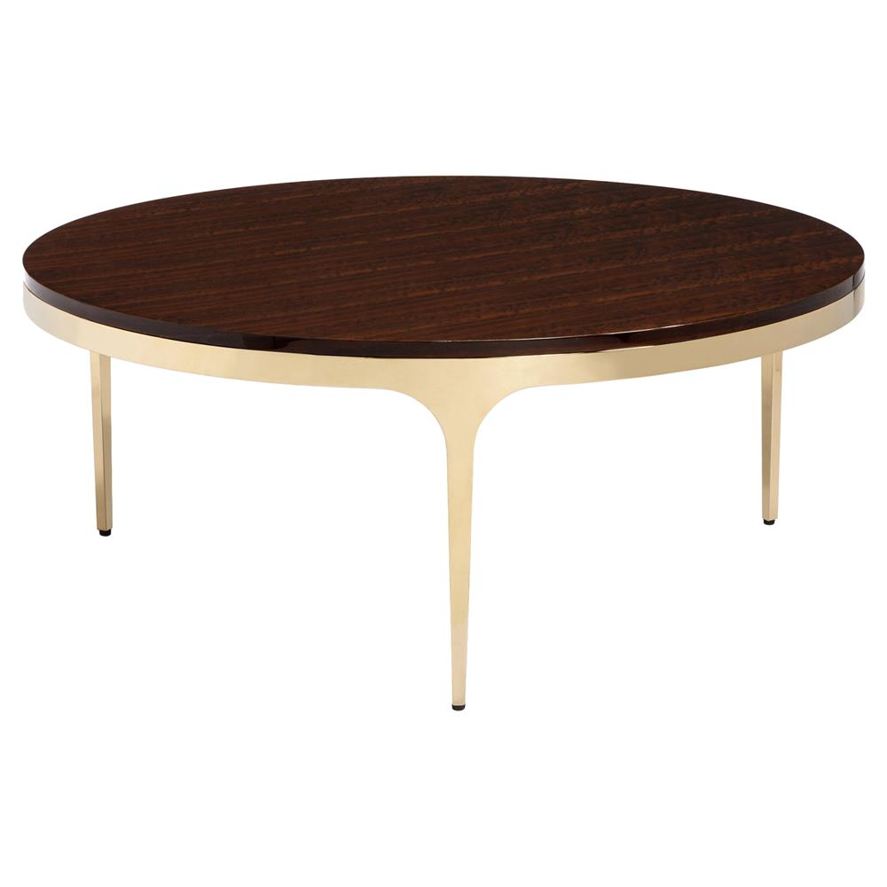 Modern Round Wooden Coffee Table 110: Interlude Camilla Brass Modern Eucalyptus Wood Round