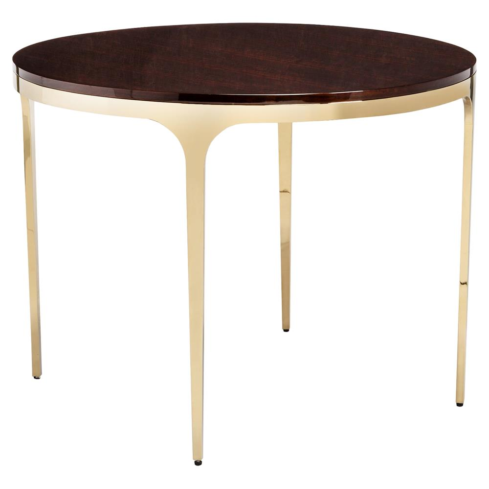 Eda brass modern eucalyptus round center dining table for Modern round dining table