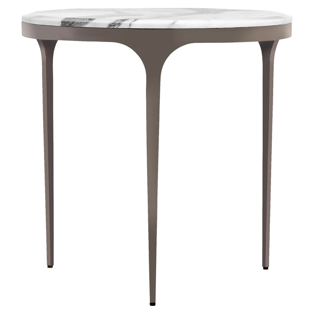 White Marble And Metal Round Accent Table: Interlude Camilla Gunmetal White Marble Round End Table