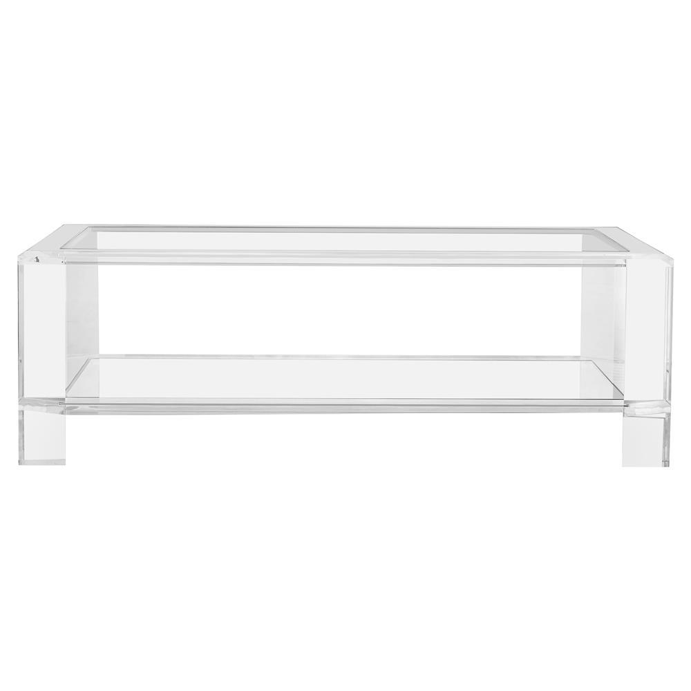 Interlude Acrylic Coffee Table: Interlude Surrey Modern Glass Acrylic Block Coffee Table