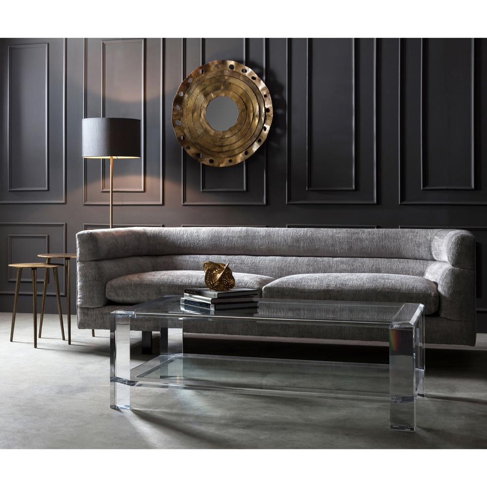 Interlude Surrey Modern Glass Acrylic Block Coffee Table