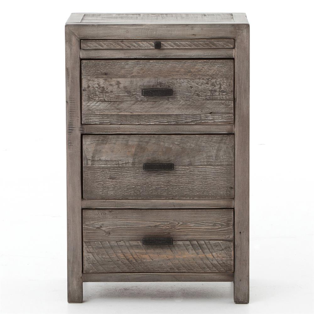 Wolter rustic grey olive reclaimed wood nightstand kathy for Rustic wood nightstand