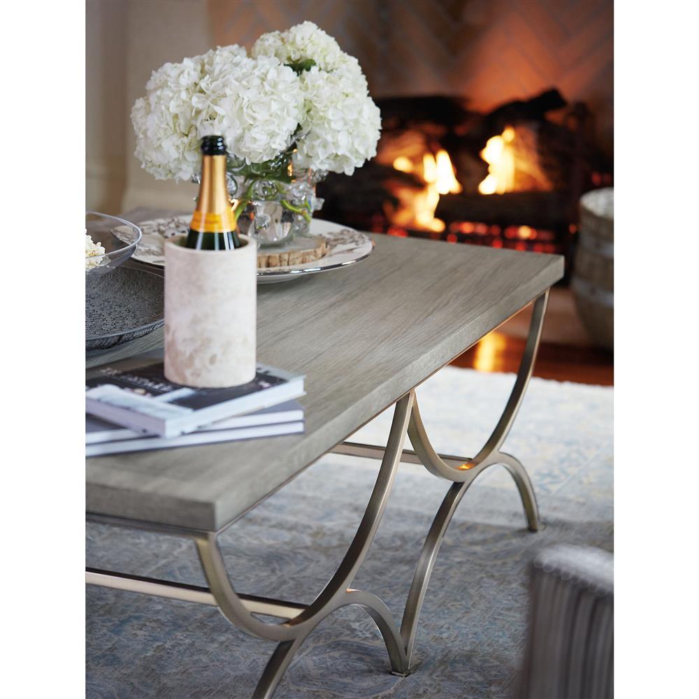 White Walnut Coffee Table: Michaela French Country Quartered White Oak Veneer Inlaid