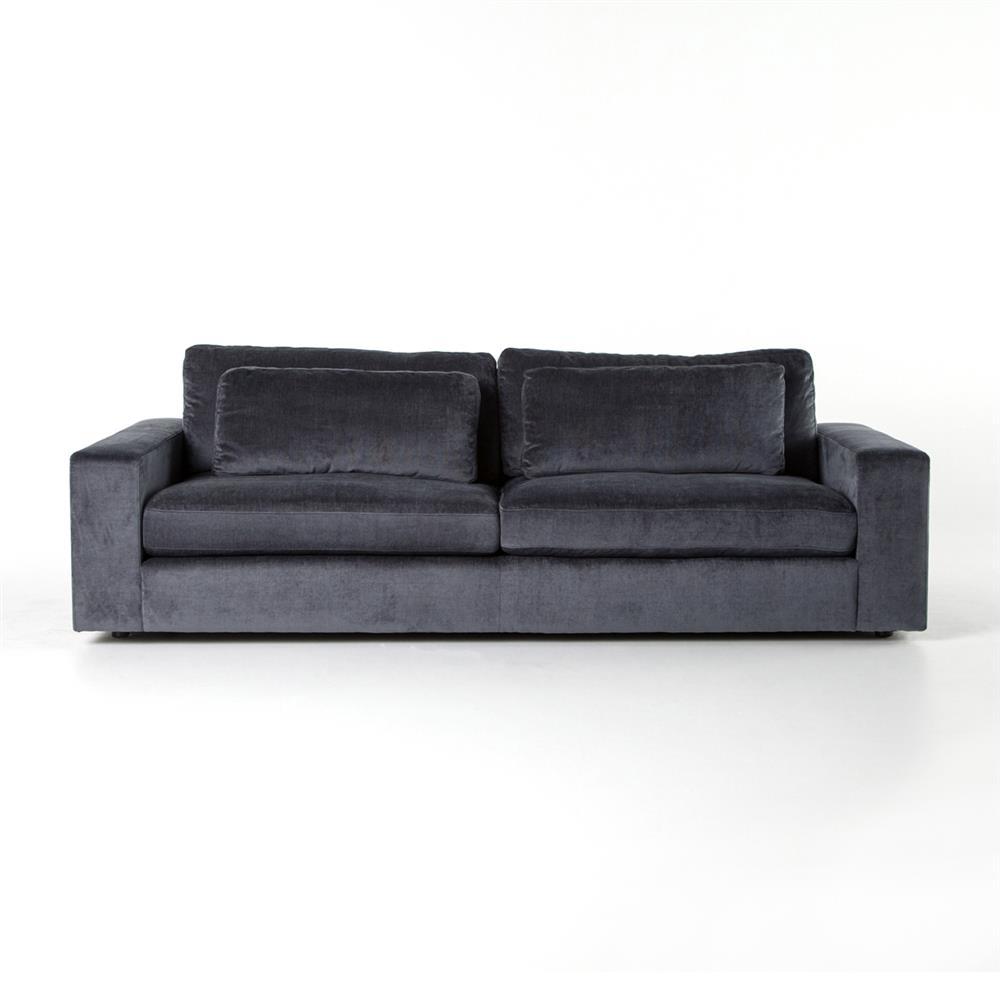 Charcoal Velvet Sofa: Ava Modern Classic Black Upholstered Cushion Back Sofa