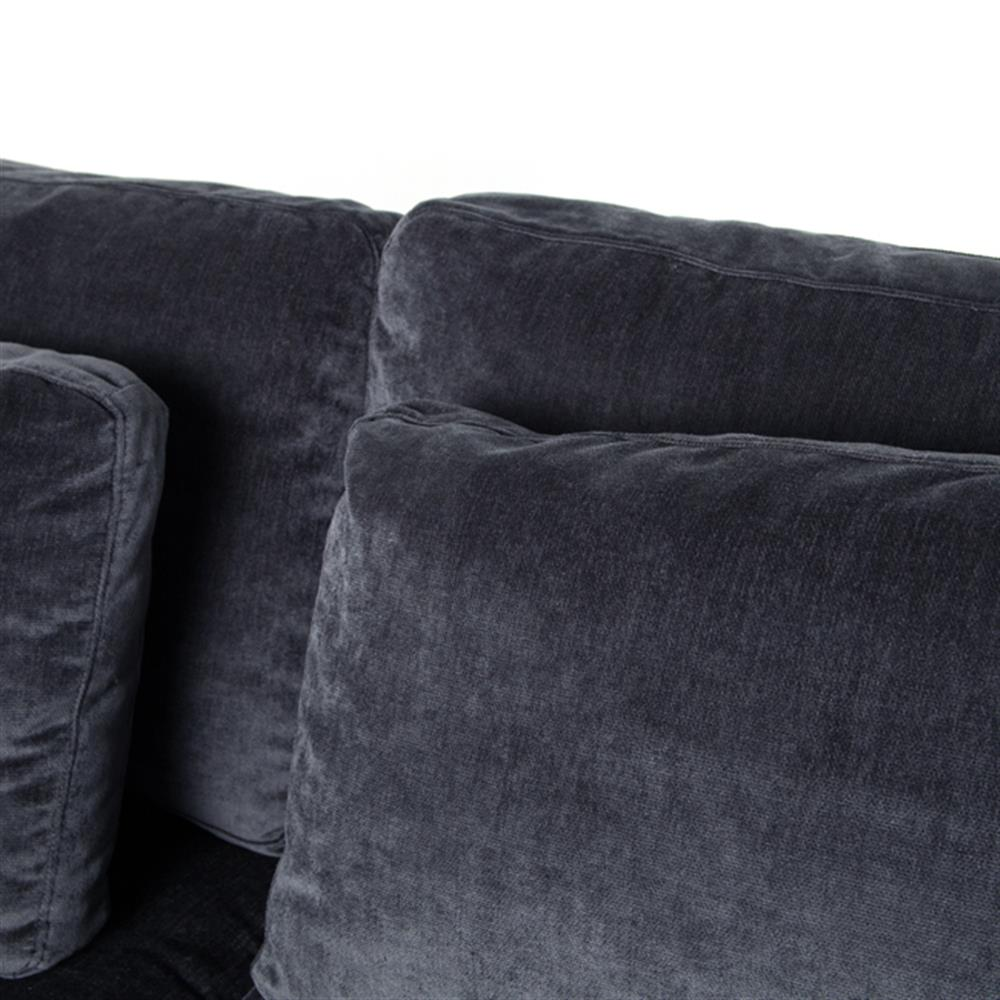 Ava Modern Classic Black Upholstered Cushion Back Sofa