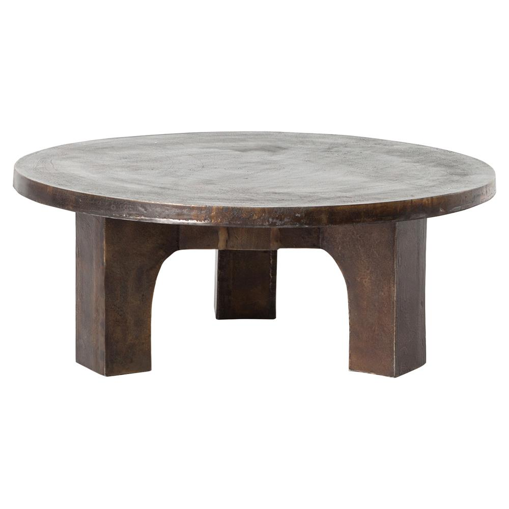 Ziah Industrial Loft Antique Rust Round Coffee Table Kathy Kuo Home