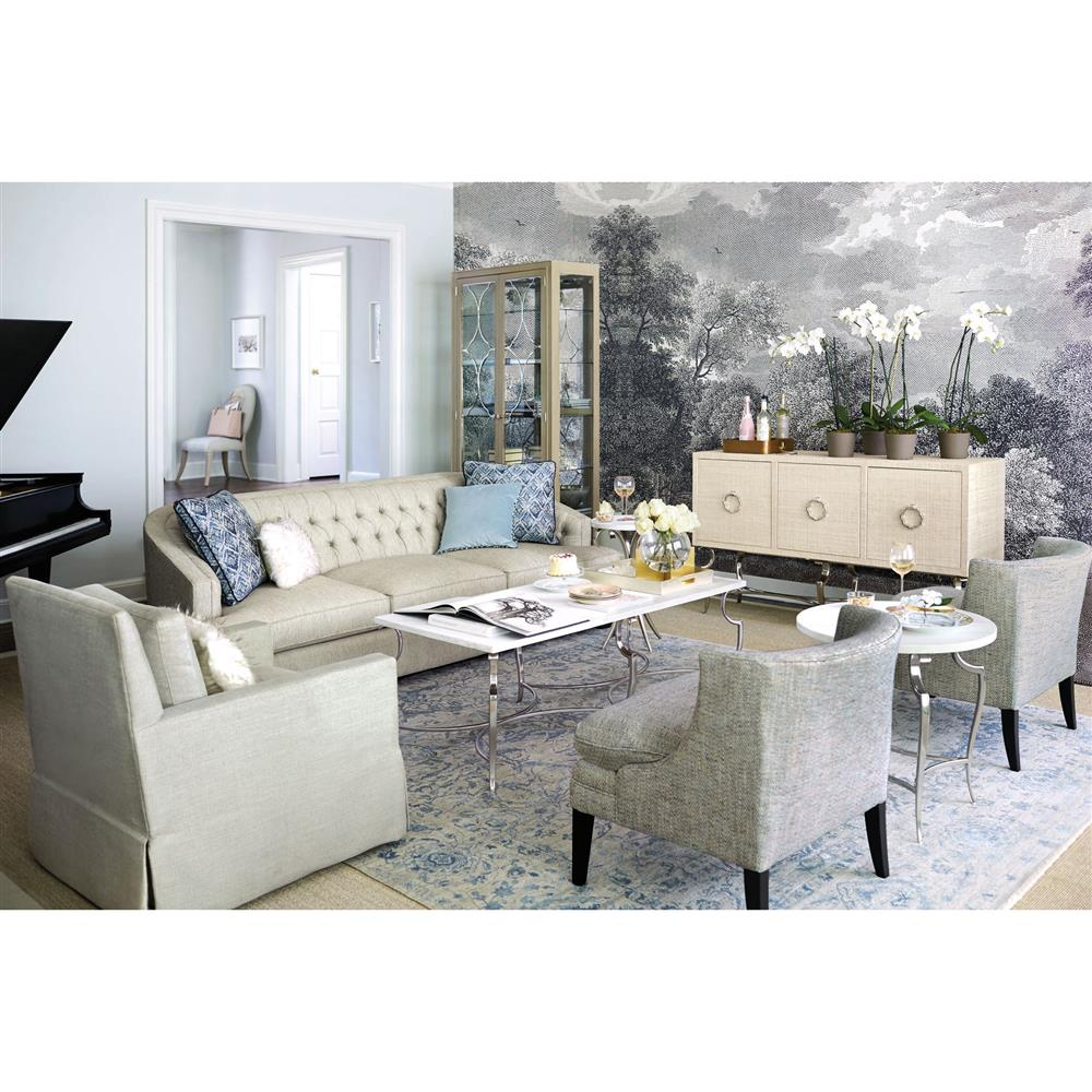 Diana White Stone Polished Silver Coffee Table