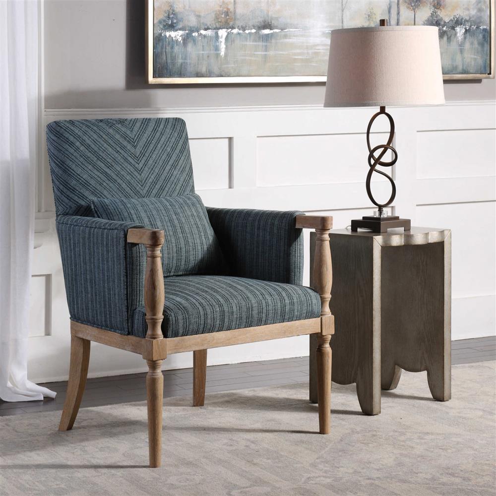 Stripe Armchair: Marguerite Coastal Blue Stripe Weathered Wood Armchair