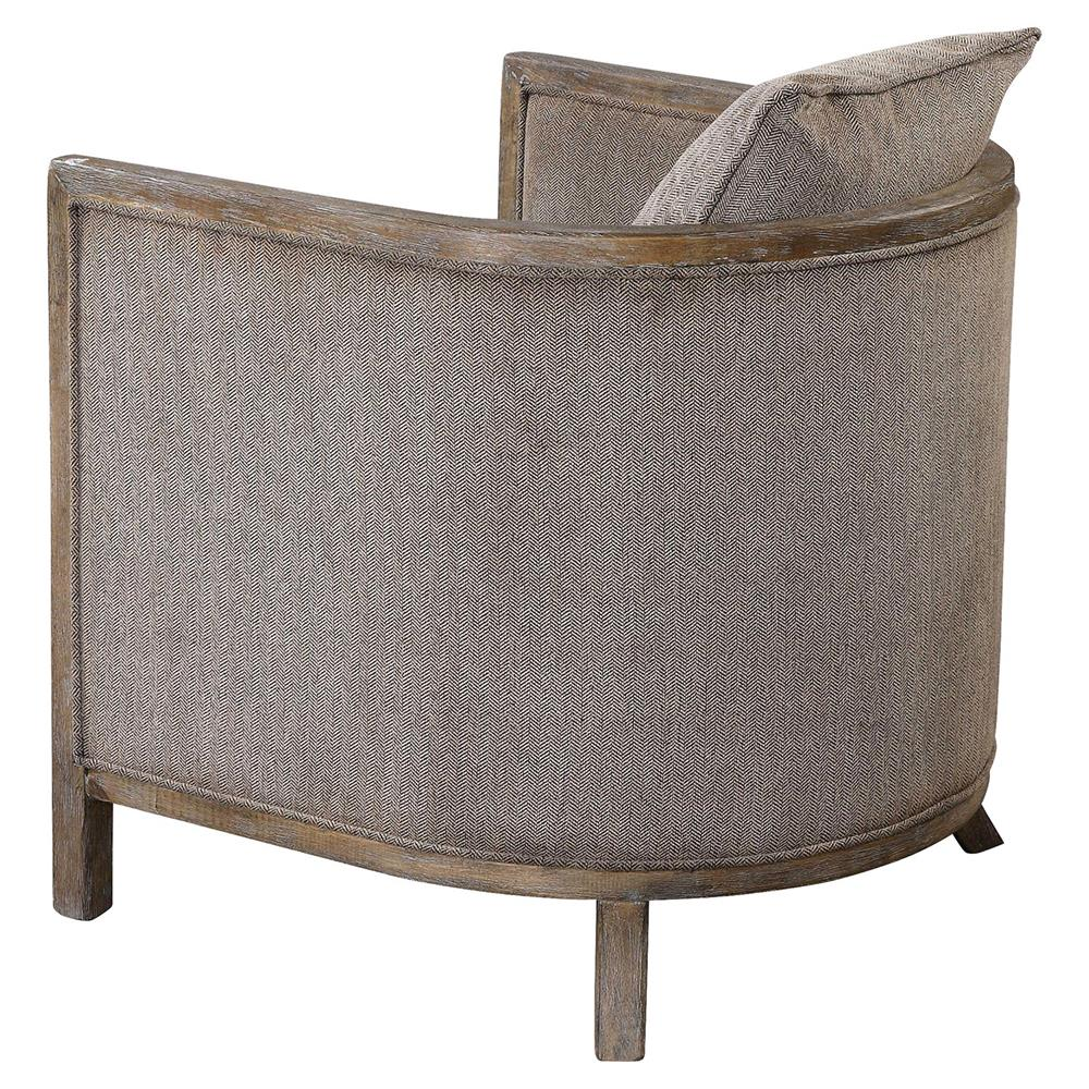 Chenille Armchair: Ebba Lodge Rustic Wood Grey Chenille Armchair