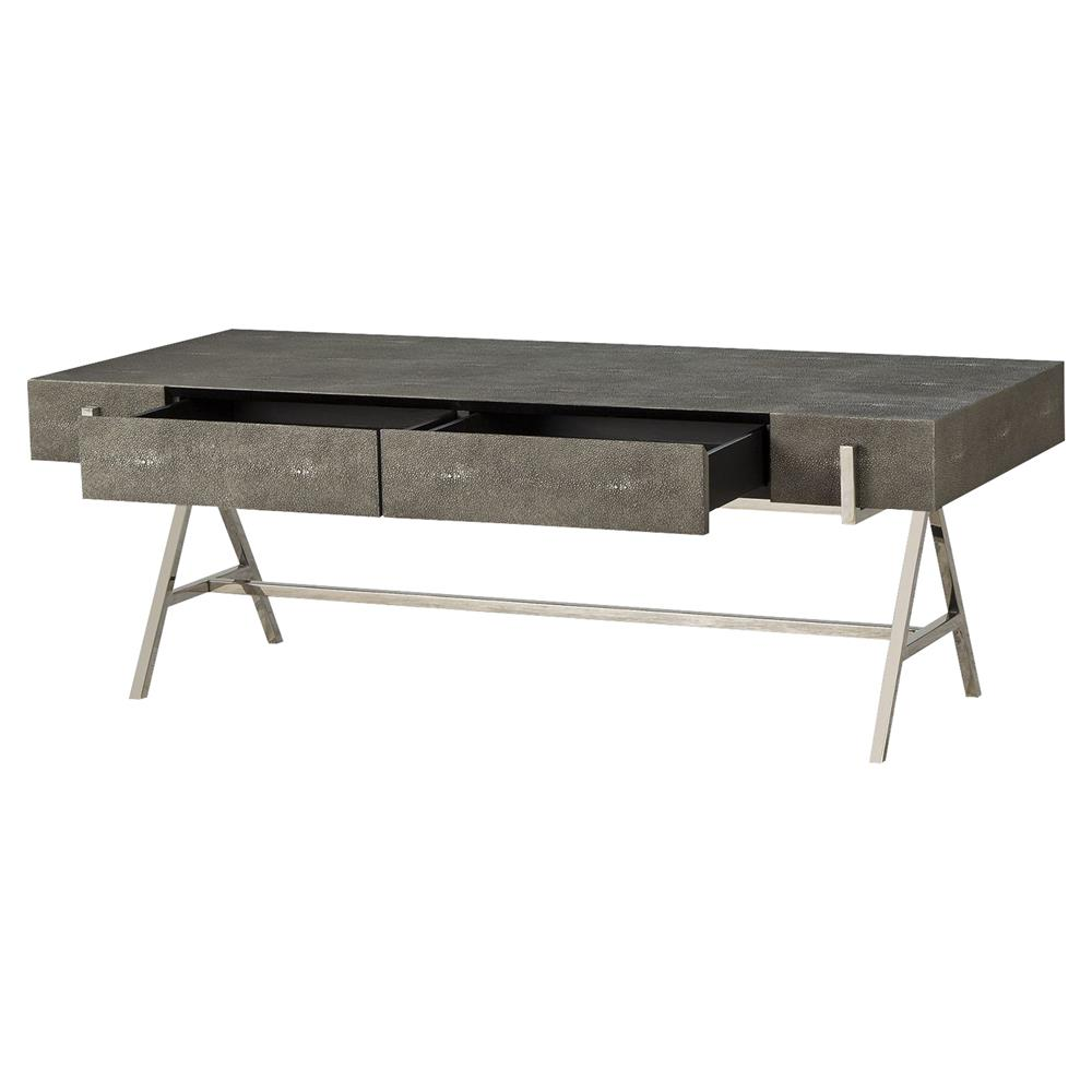 Fisk regency silver charcoal shagreen coffee table kathy for Charcoal coffee table