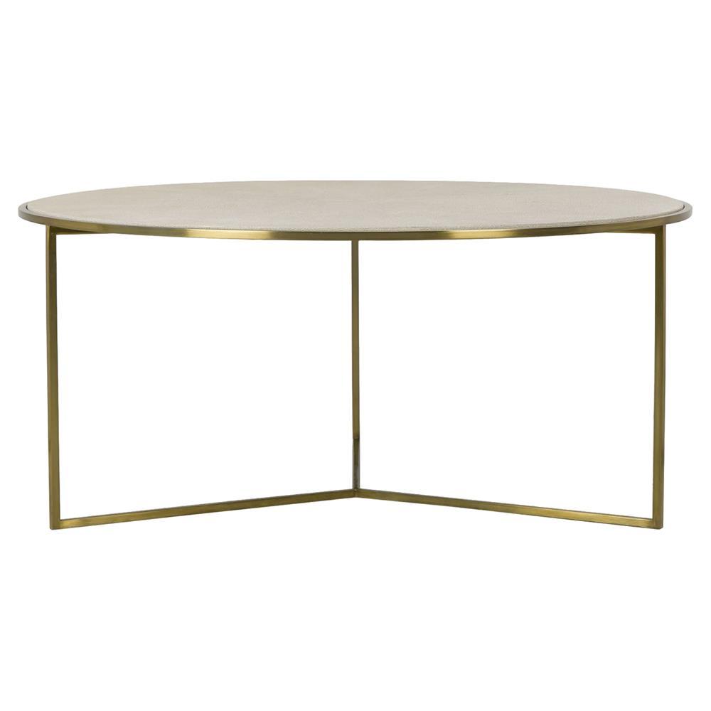 Farlane Regency Linen Shagreen Round Brass Coffee Table