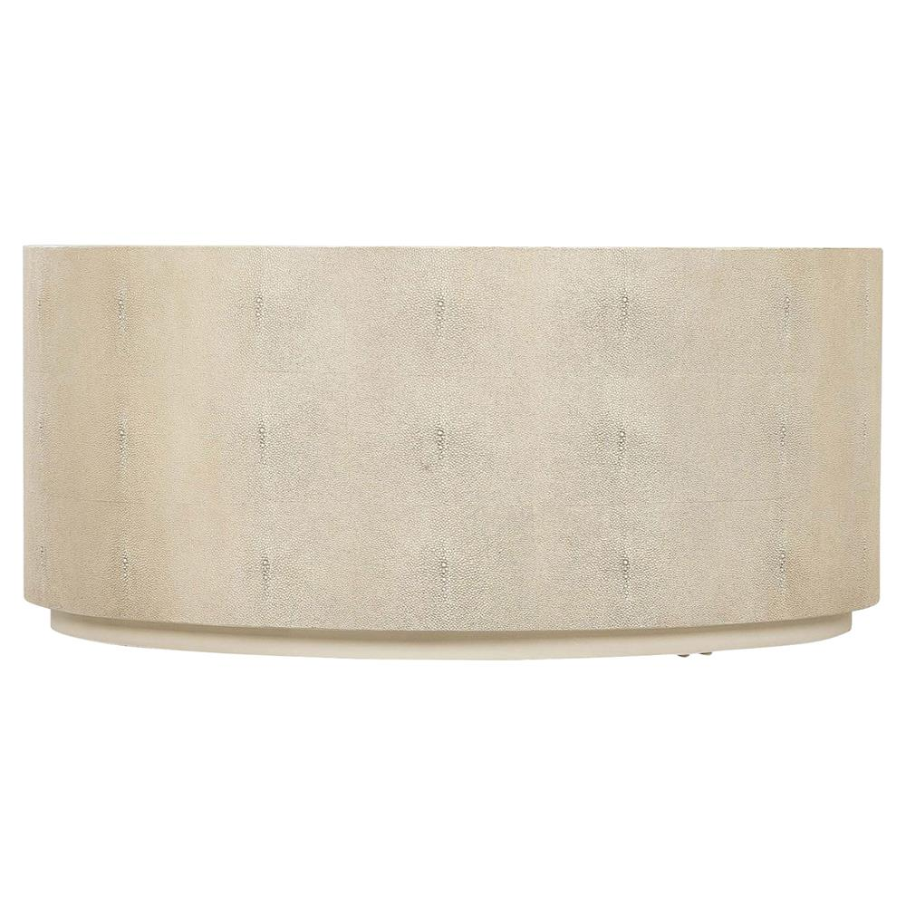 Maison 55 Ayden Drum Regency Round Ivory Shagreen Coffee Table