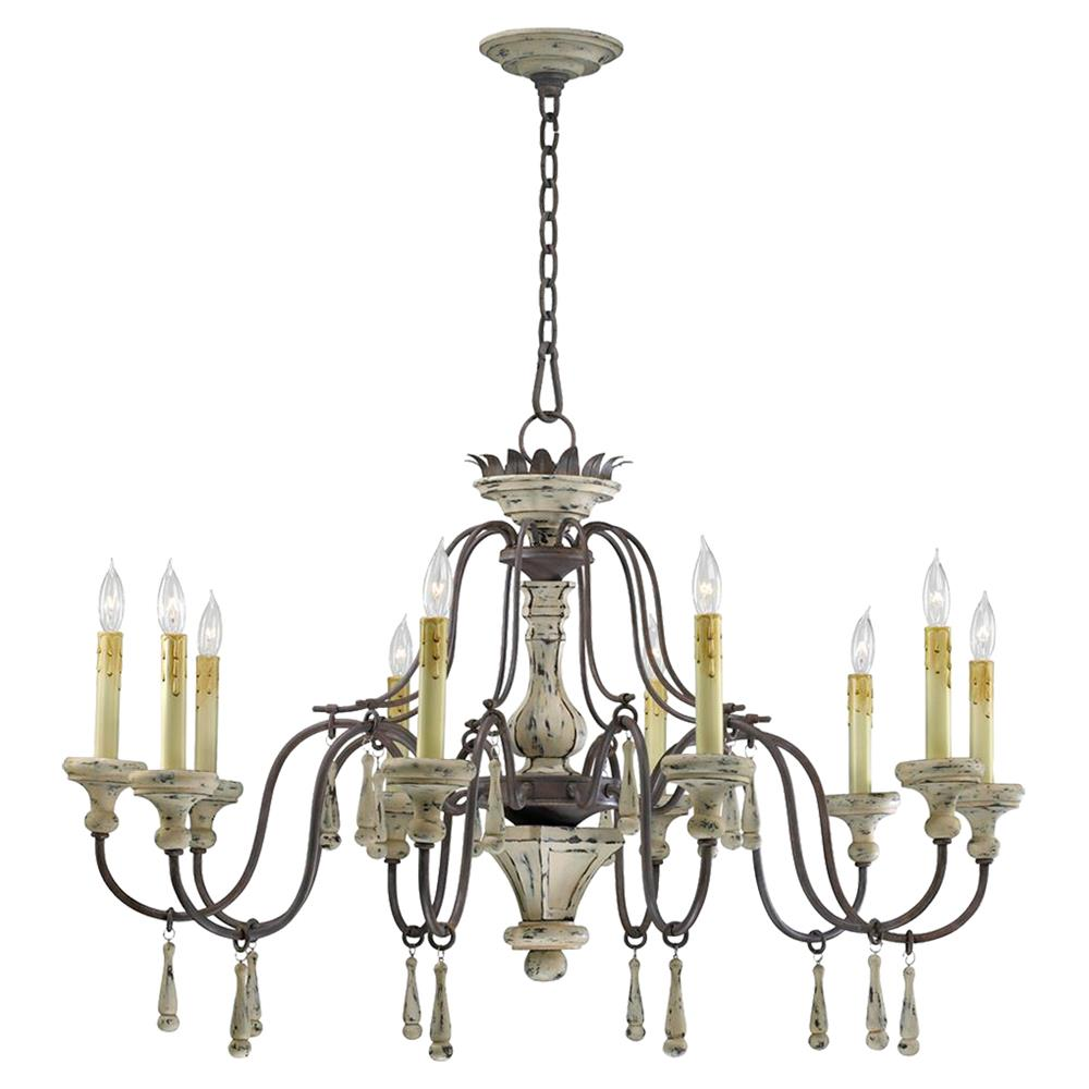 Provence french country white and grey wash 10 light French country chandelier
