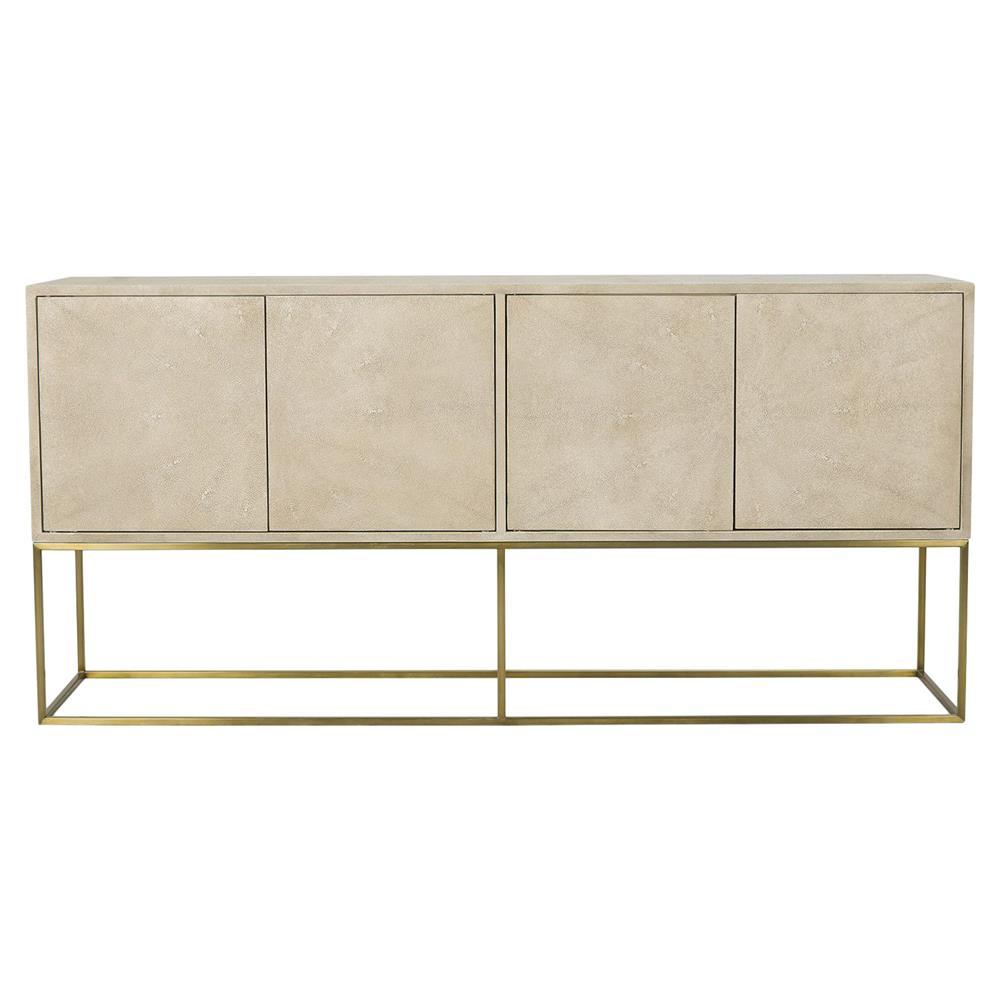 Hedy Regency Linen Shagreen Brass Buffet Cabinet   Kathy Kuo Home