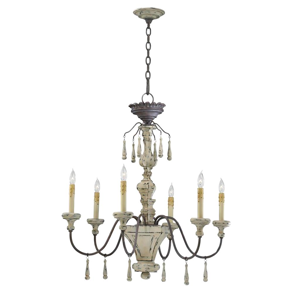 Provence french country white and grey wash 6 light French country chandelier