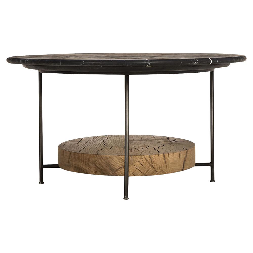 Oak And Stone Coffee Table: Thomas Bina Olivia Lodge Black Marble Oval Oak Coffee Table