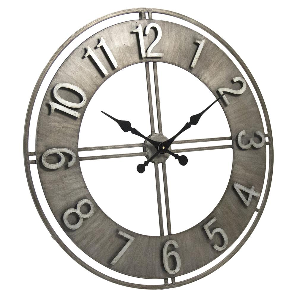 Randal industrial loft grey iron wall clock kathy kuo home view full size amipublicfo Image collections