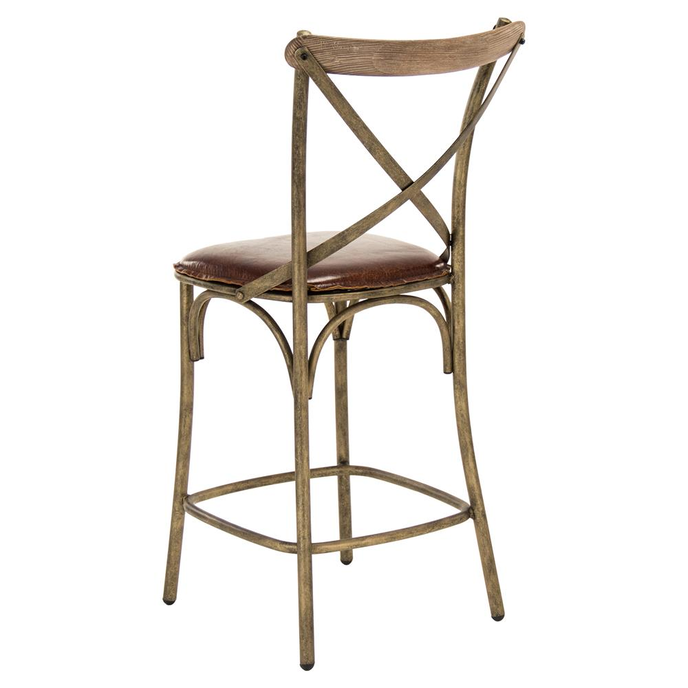 Kasson French Bronze Limed Oak Leather Counter Stool