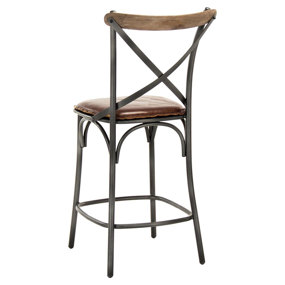 Black Metal Bar Stool With Brown Microfiber Seat By: Kasson Loft Brown Leather Black Metal Counter Stool