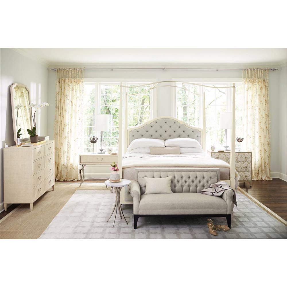 sc 1 st  Kathy Kuo Home & Diana Grey Tufted Ivory Canopy Bed - Queen | Kathy Kuo Home