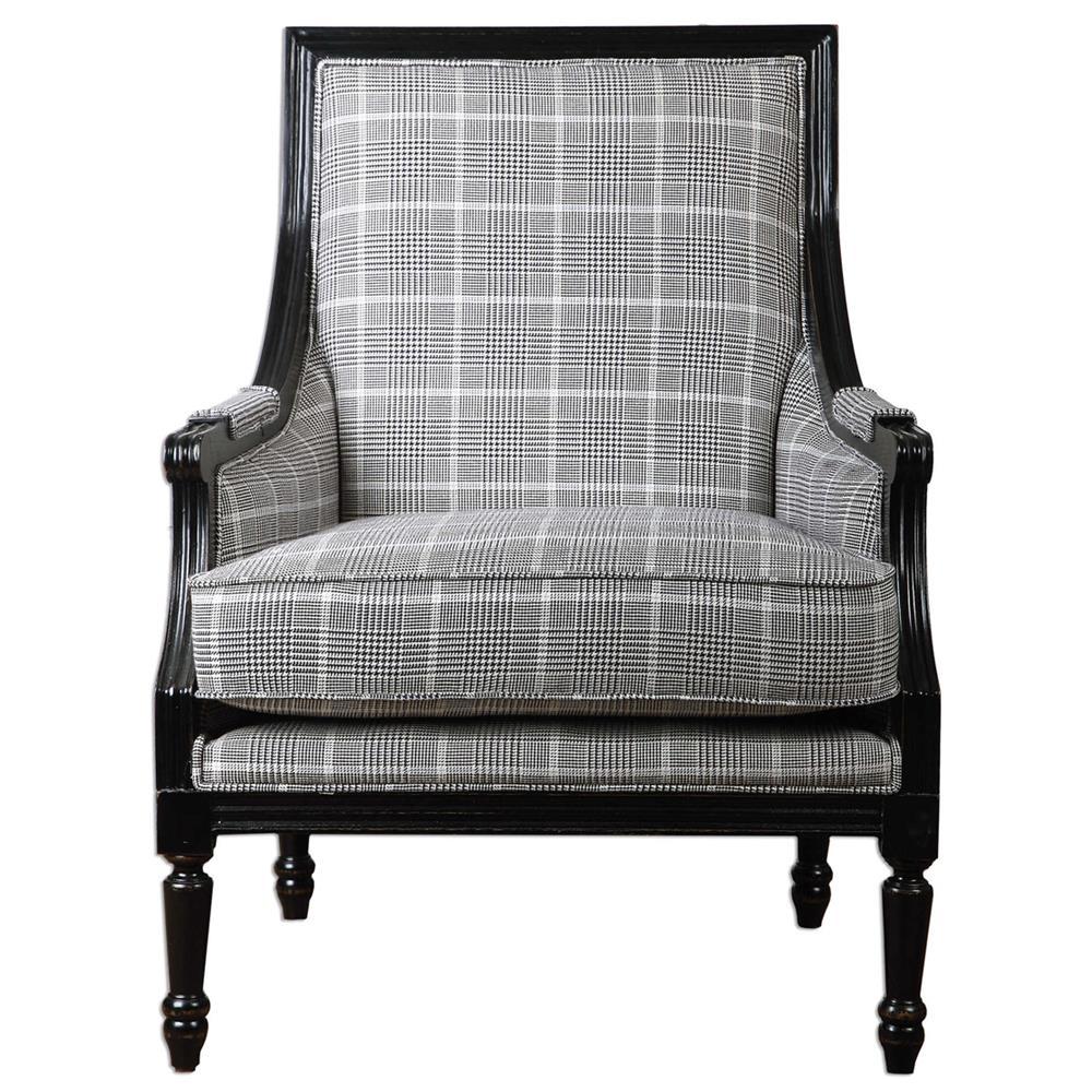 Modern classic armchair - Josiah Plaid Black Modern Classic Armchair Kathy Kuo Home View Full Size