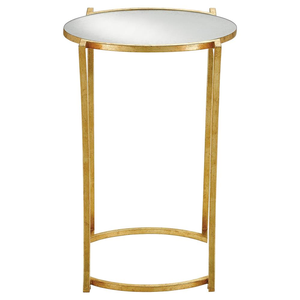 bette regency curved gold leaf mirrored end table kathy kuo home. Black Bedroom Furniture Sets. Home Design Ideas