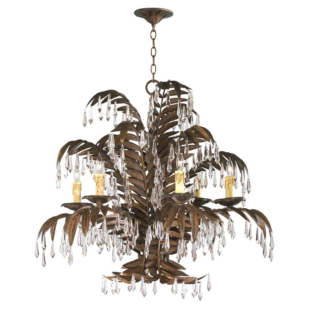 Largo 6 light antique brass palm frond coastal beach crystal chandelier view full size aloadofball Images