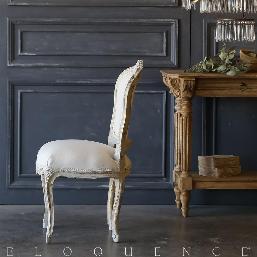 Eloquence single gilt grey vintage side chair 1940 for Grey single chair