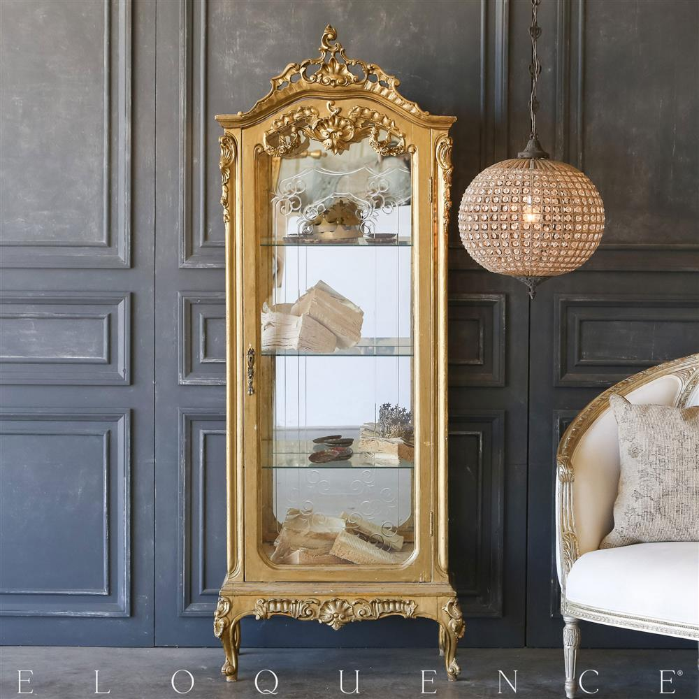 eloquence vintage gold glass vitrine 1940 kathy kuo home. Black Bedroom Furniture Sets. Home Design Ideas