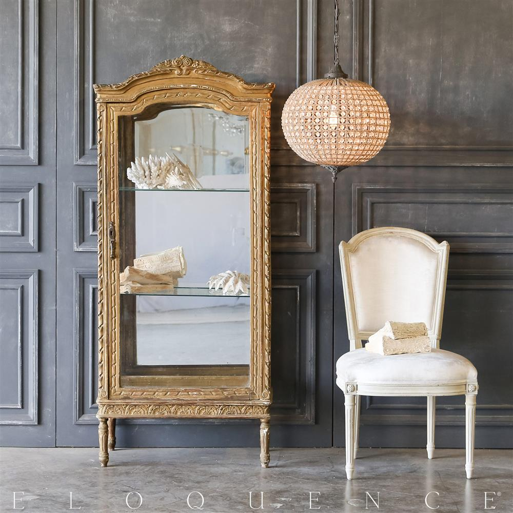 eloquence vintage distressed gold vitrine 1940 kathy kuo home. Black Bedroom Furniture Sets. Home Design Ideas