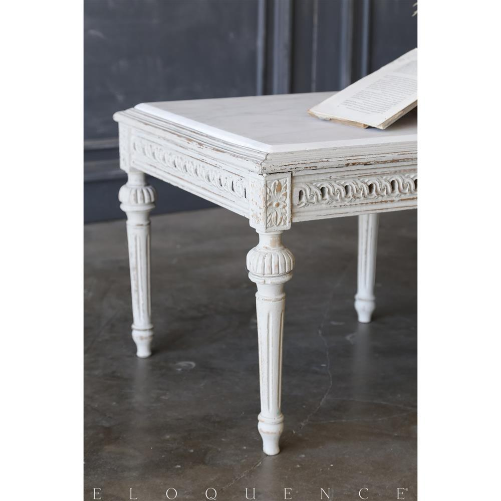 Eloquence® Vintage Rustic White Coffee Table: 1940