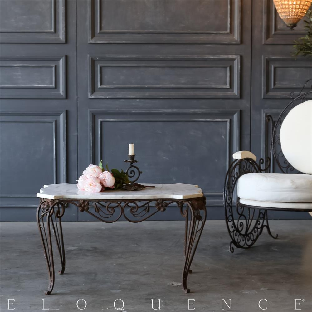 Old Coffee Table Outdoor: Eloquence® Vintage Steel Garden Coffee Table: 1940