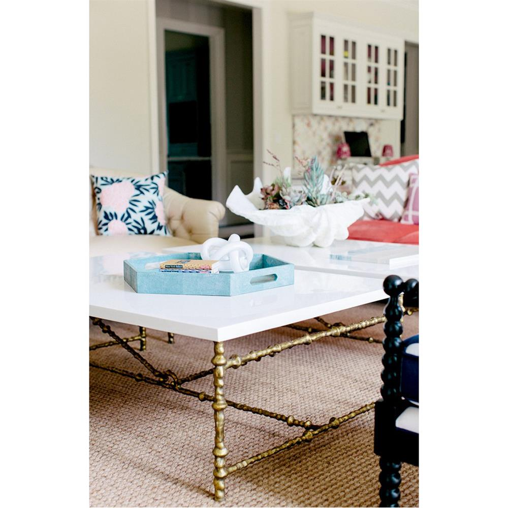 Attractive Oly Studio Diego Antique Gold White Gloss Coffee Table | Kathy Kuo  DV68