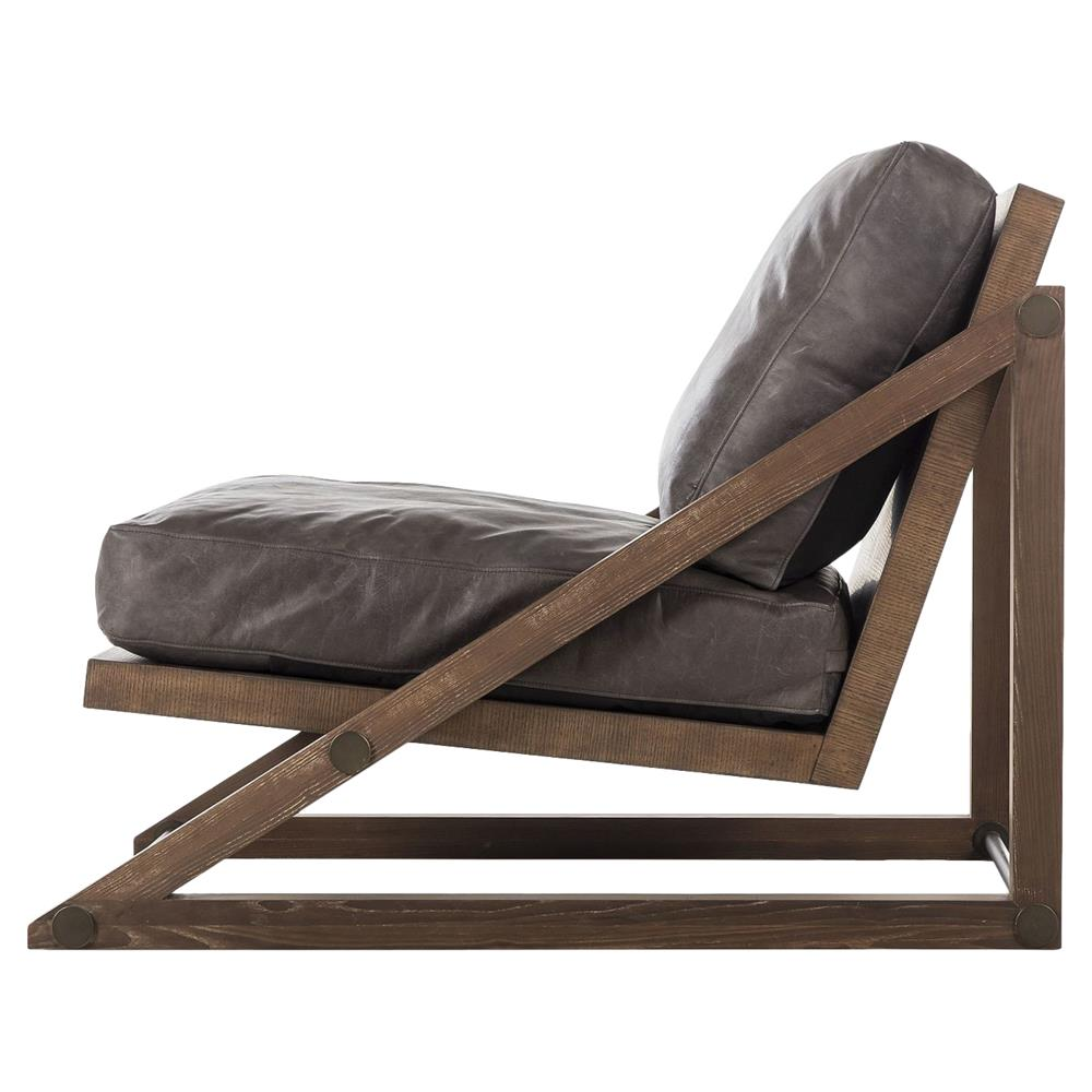 ... Resource Decor Teddy Lodge Angular Ash Leather Lounge Chair | Kathy Kuo  Home