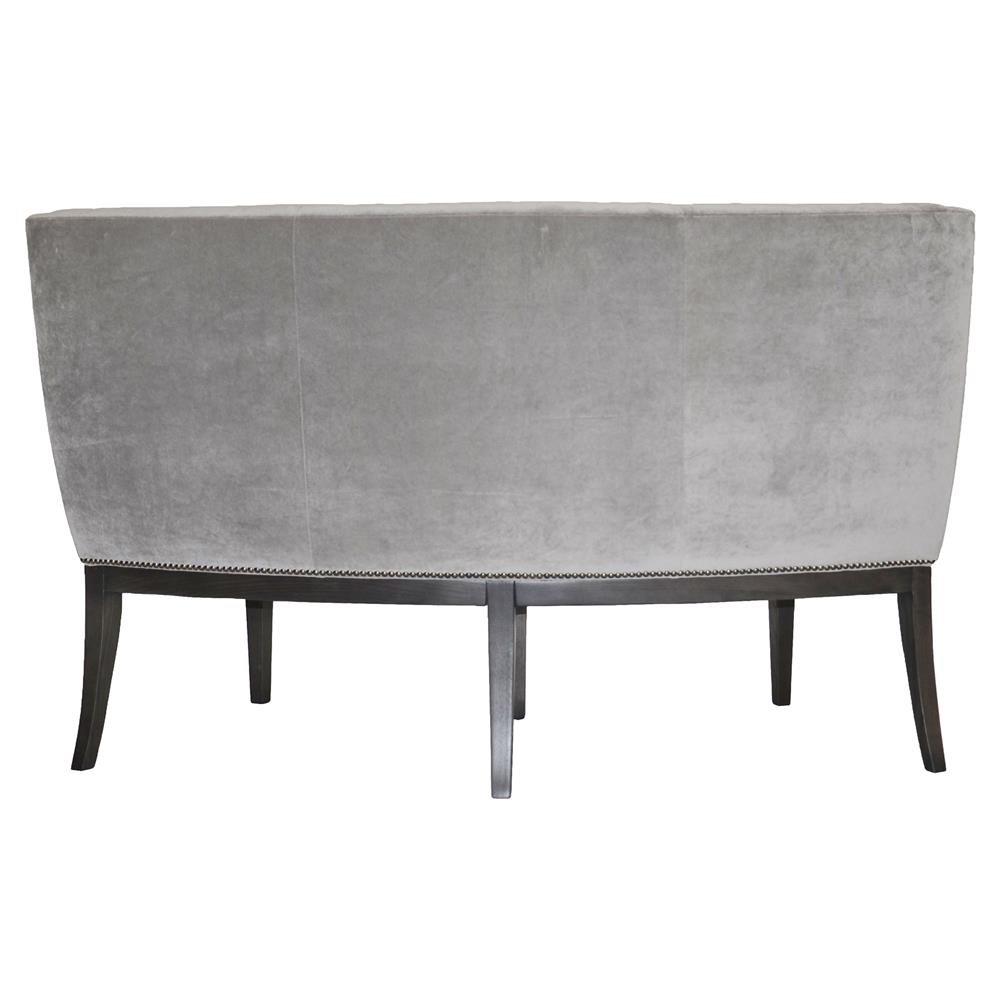 Curved Back Dining Room Bench: Michael Weiss Alton Regency Curved Grey Velvet Dining Bench