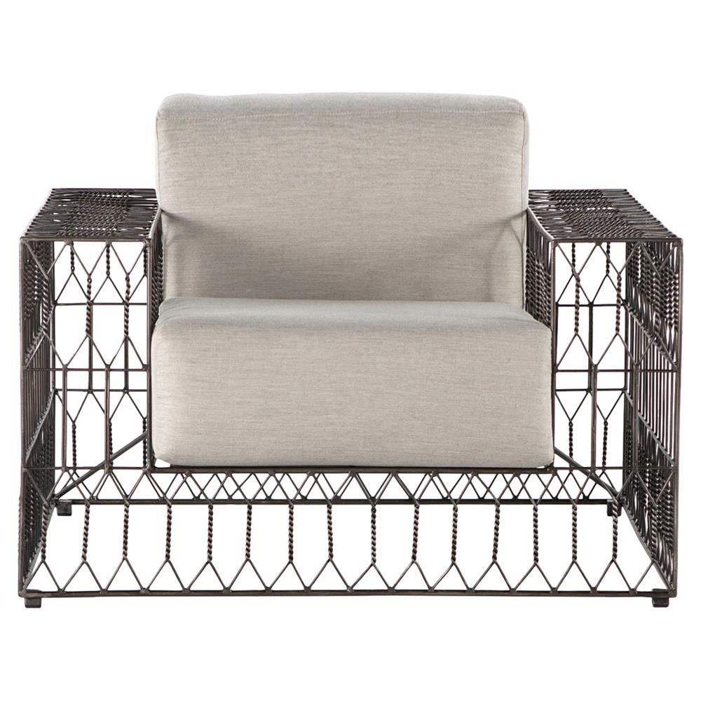 Metal outdoor club chairs - Albin Industrial Vintage Metal Outdoor Club Chair Kathy Kuo Home View Full Size
