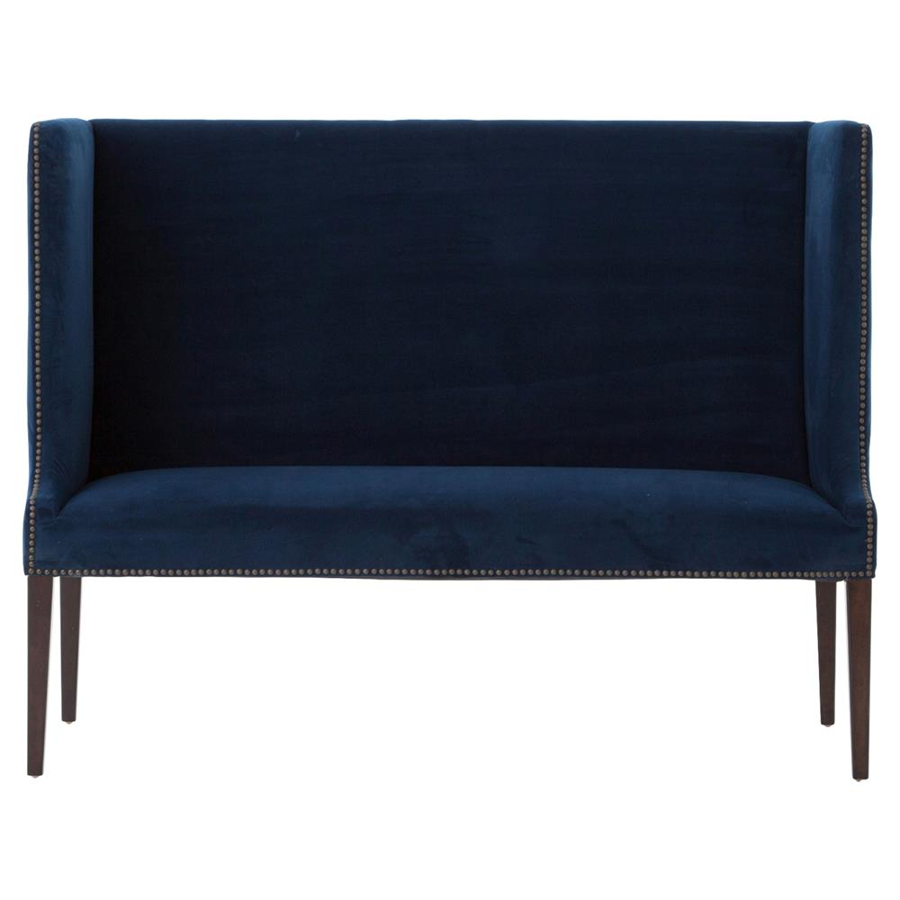 Rylie Regency Navy Blue High Back Bench Kathy Kuo Home