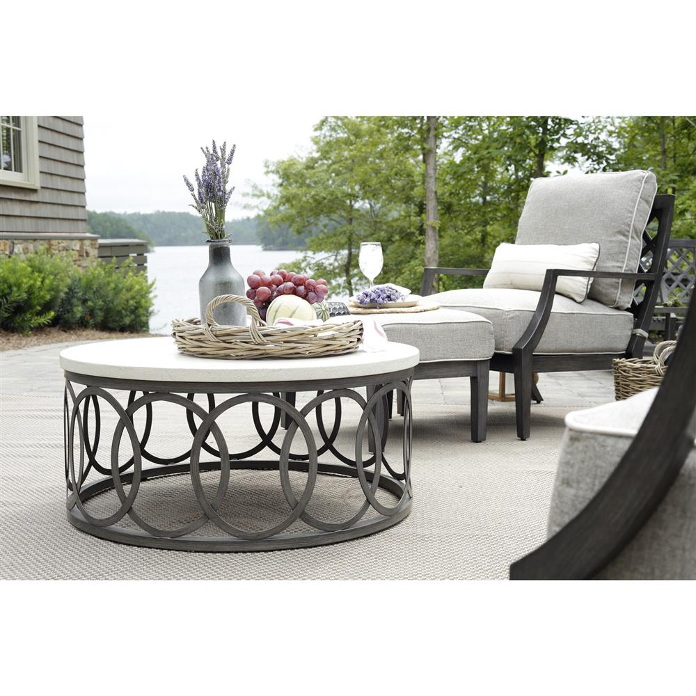 Outdoor Coffee Table: Summer Classics Ella Oval Interlock Ivory Outdoor Coffee Table