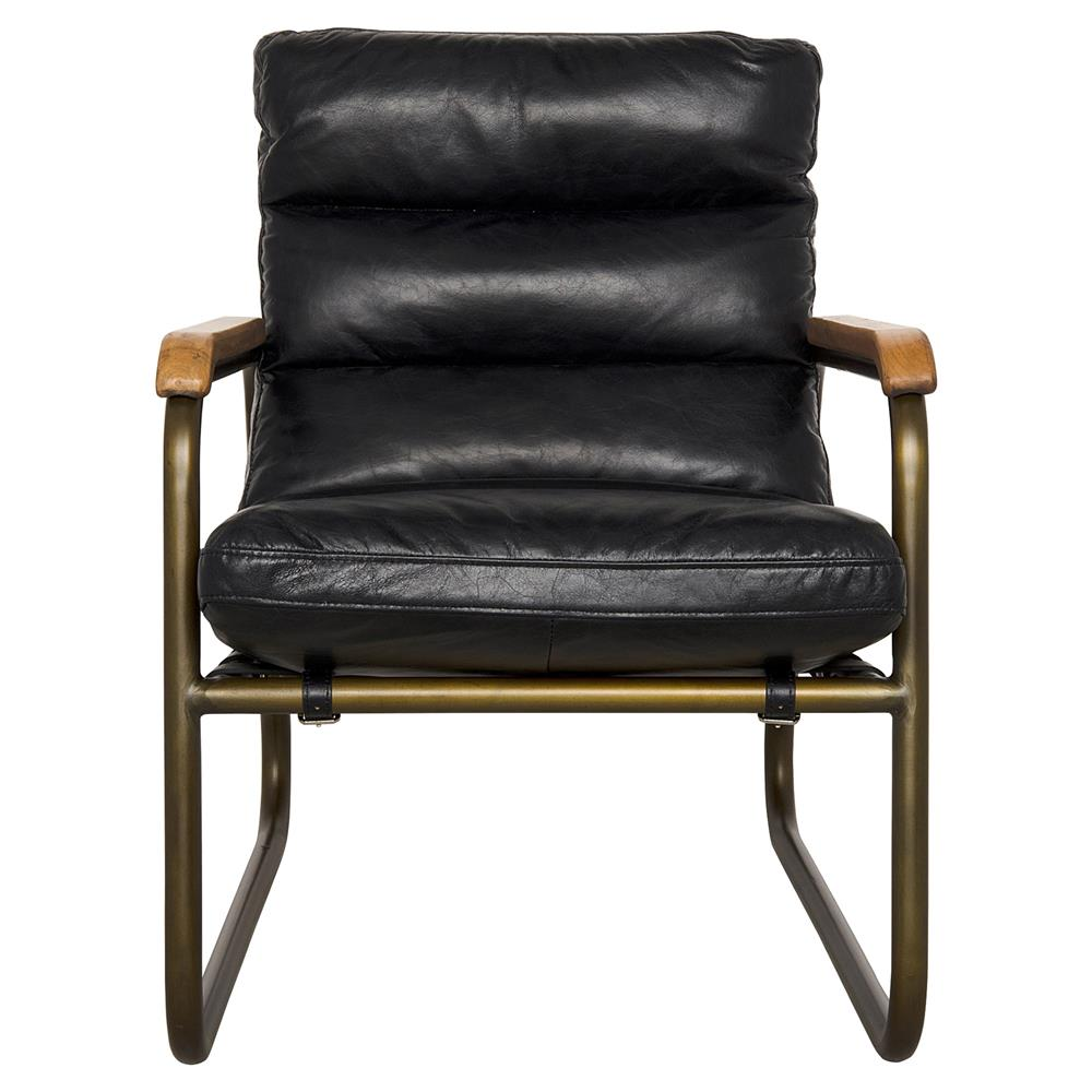 Black leather arm chair - Fred Industrial Loft Black Leather Armchair Kathy Kuo Home View Full Size