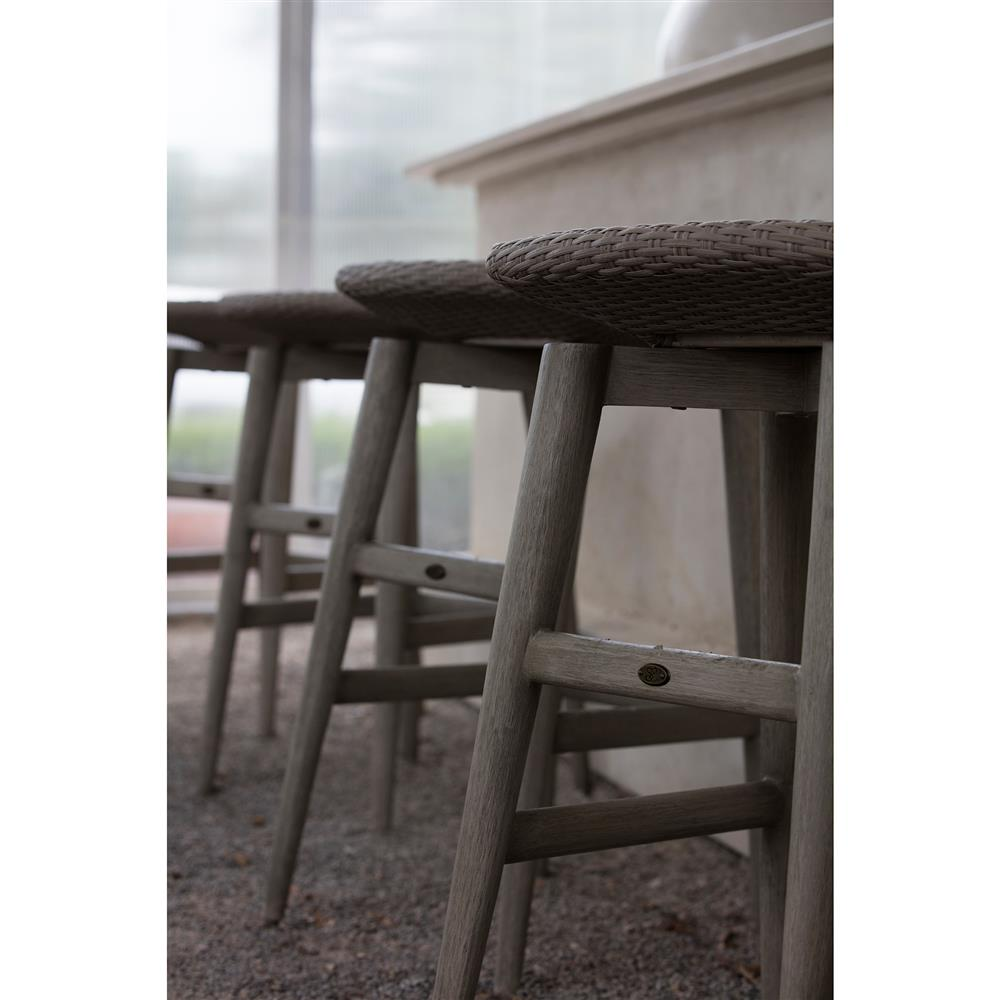Summer Classics Wind Oyster Grey Wicker Outdoor Barstool