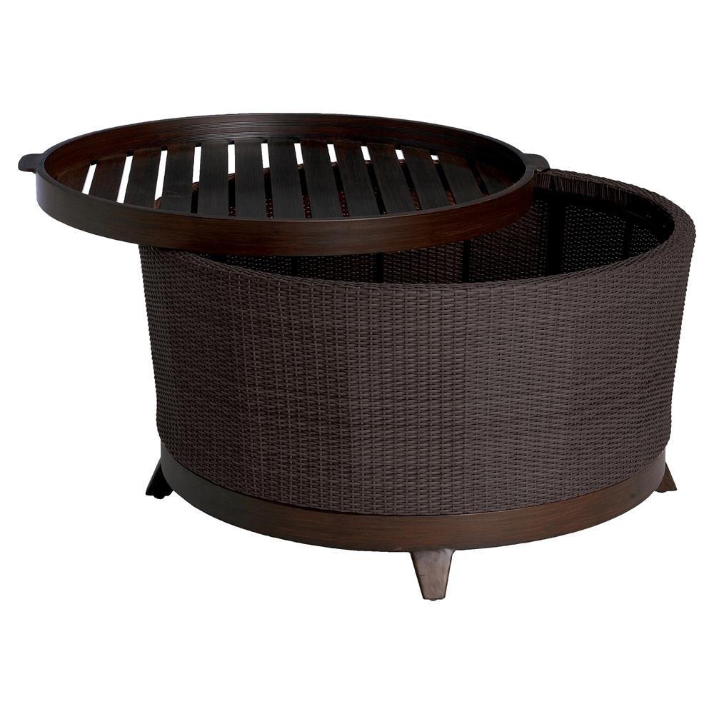 Black Wicker Coffee Table: Summer Classics Halo Tray Black Walnut Wicker Outdoor