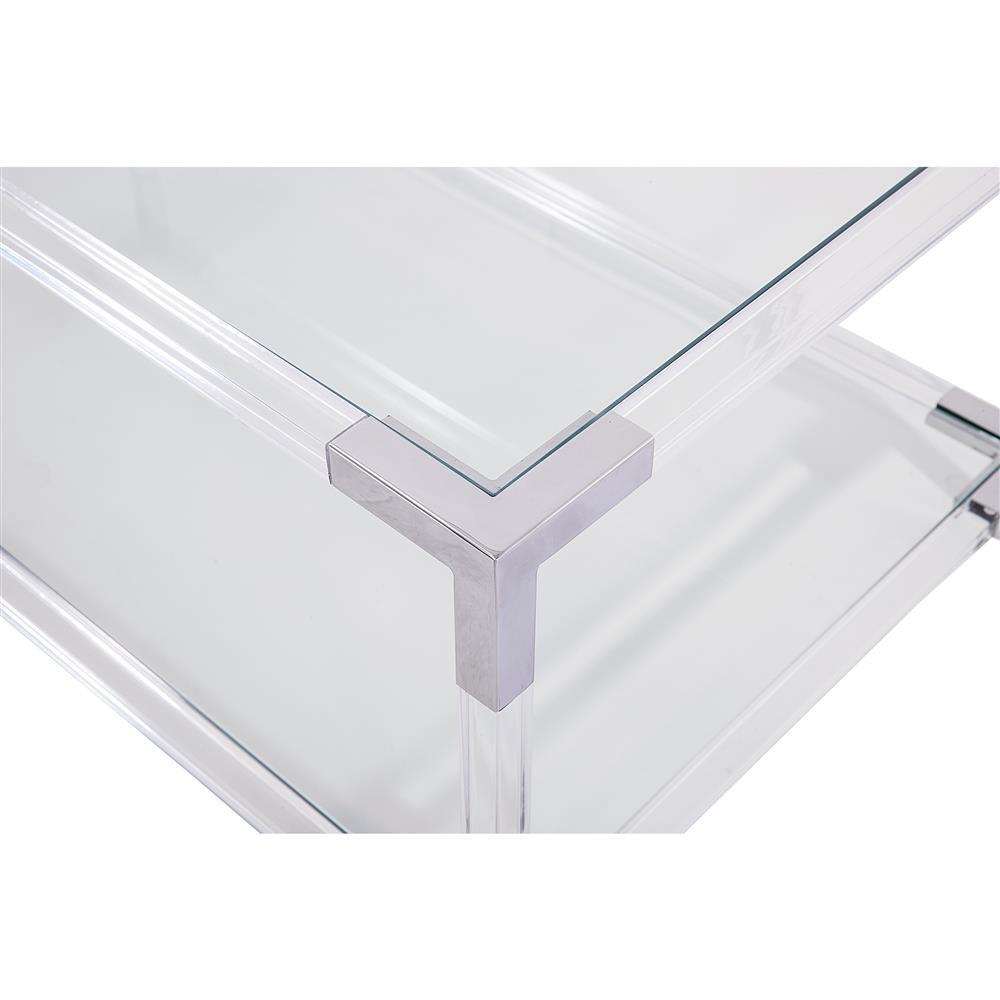 Maelie Modern Acrylic Stainless Steel Coffee Table