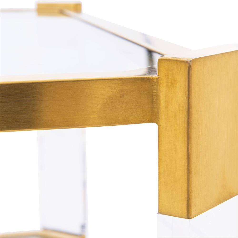 Warren Acrylic Gold Angle Square Coffee Table  Kathy Kuo Home