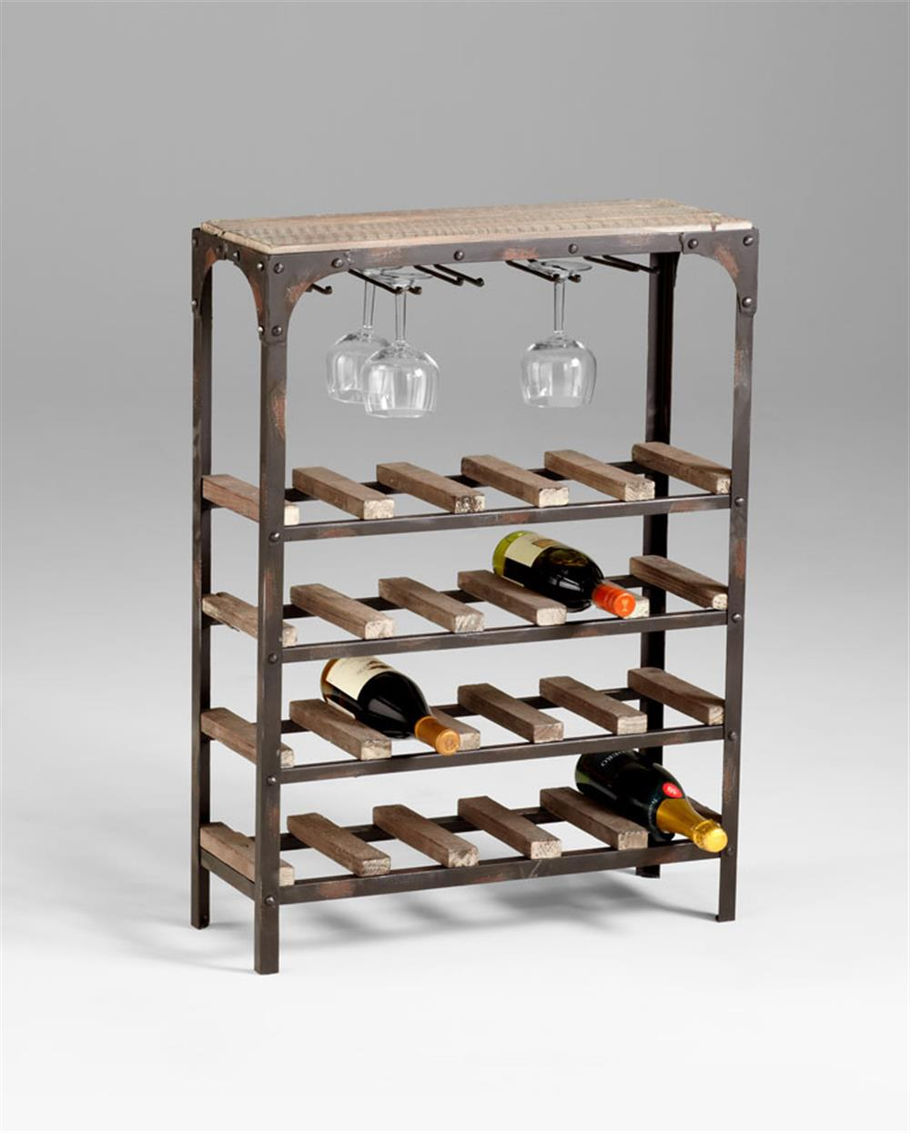 Gallatin industrial metal rustic wood narrow console wine rack for Rustic industrial decor