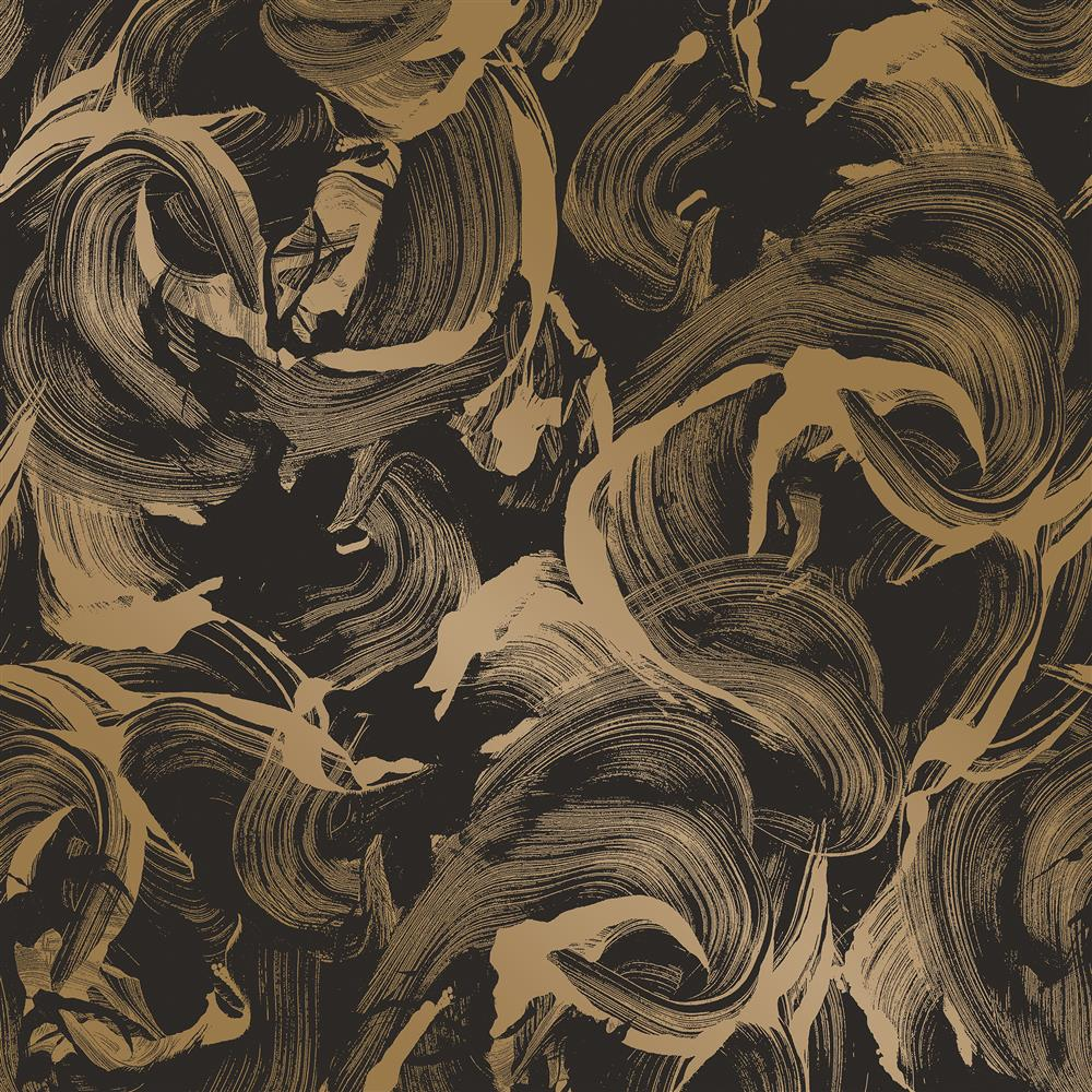 Metallic gold and matte black paint strokes removable for Metallic removable wallpaper