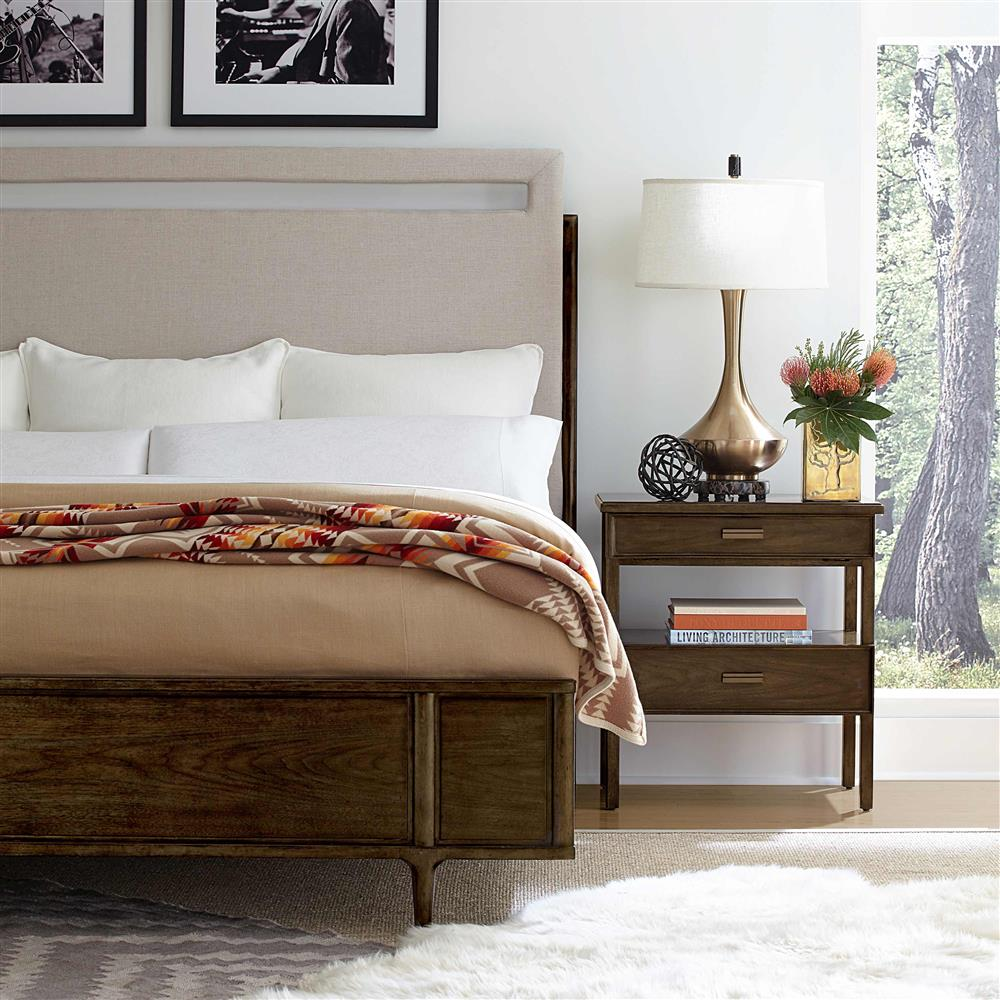 Reno French Country Upholstered Walnut Bed Kathy Kuo Home - French country bed