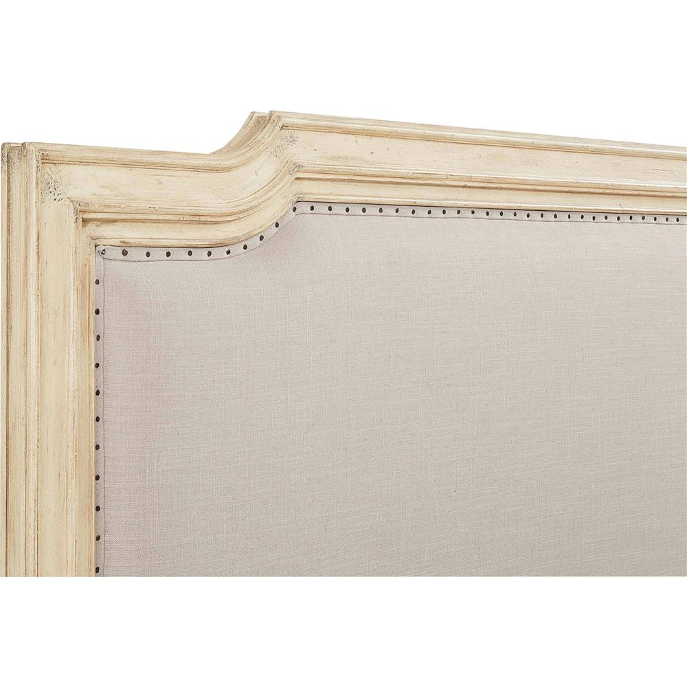 Amelie French Country Distressed Wood Upholstered Bed King