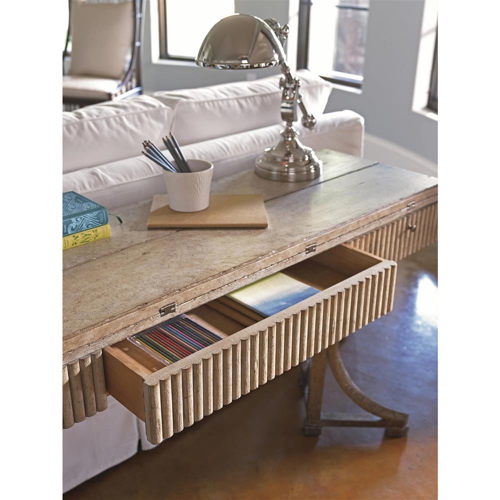 Angelina Modern Classic Weathered Wood Flip Top Desk Kathy Kuo Home