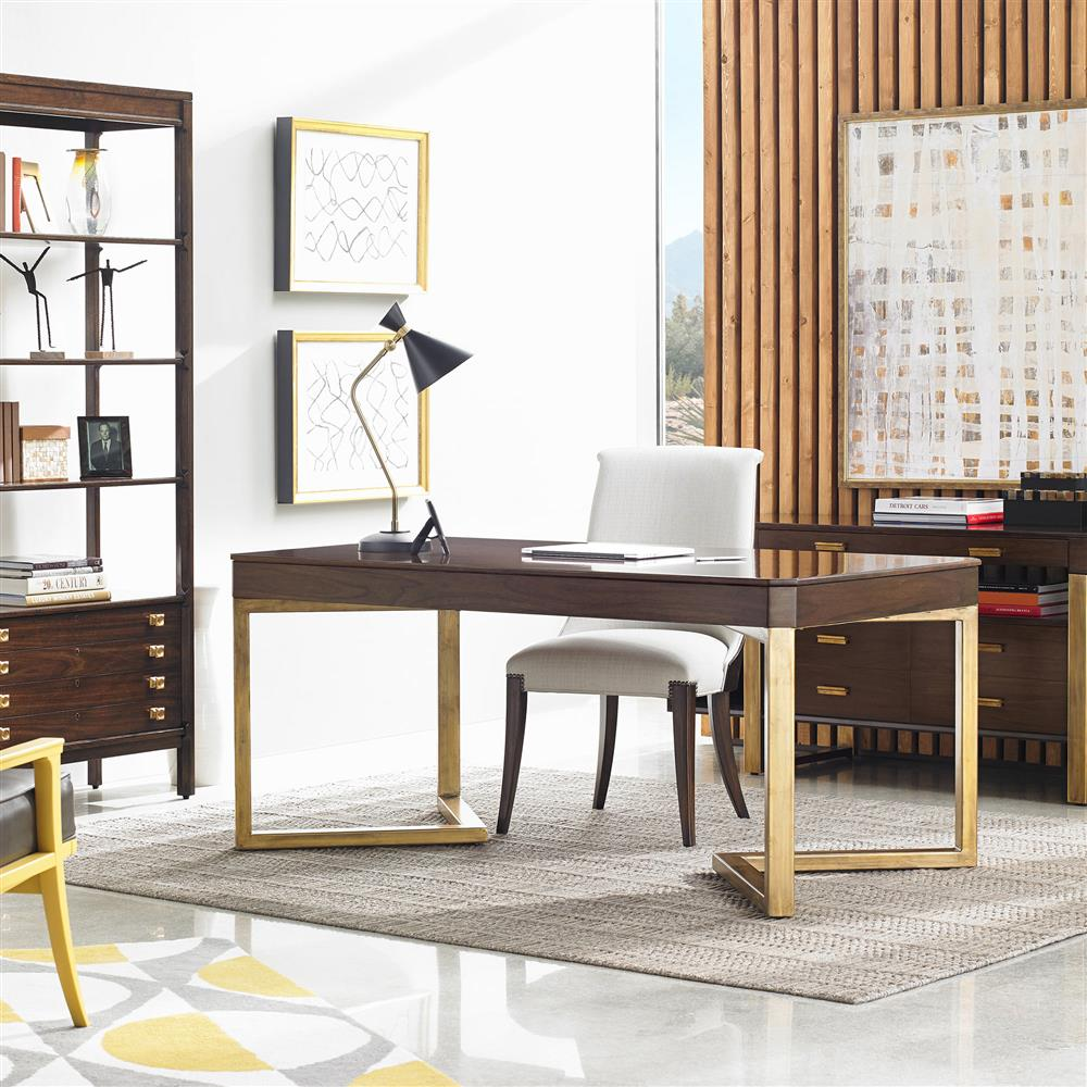 Vincent Gold Leaf High Gloss Wood Writing Desk | Kathy Kuo Home